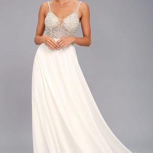 NEW! TRUE LOVE WHITE BEADED RHINESTONE MAXI DRESS
